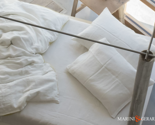 completo letto in lino lenzuola federe in bianco basic