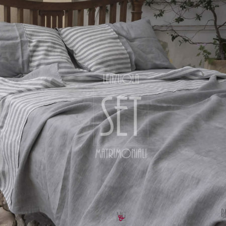 set lenzuola lino righe cenere letto made in taly 07