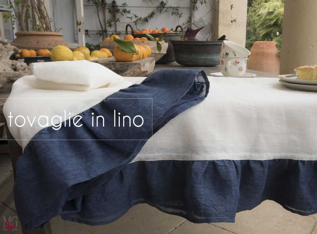 tovaglie lino Country Blu made in italy Marini & Gerardi